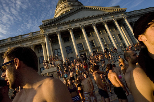 Djamila Grossman  |  The Salt Lake Tribune  The Utah Undie Run is a rally to encourage people in Utah to lighten up. People stand in their underwear at the the Capitol in Salt Lake City, Utah, on Saturday, Sept. 24, 2011.