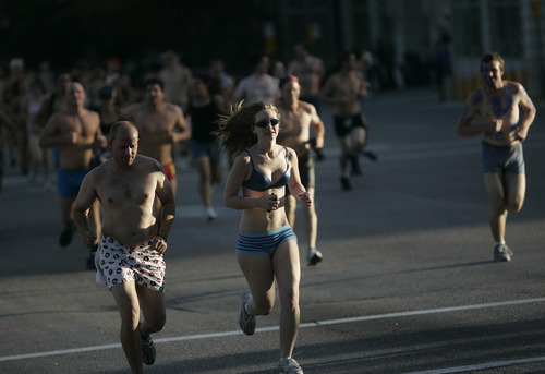 Djamila Grossman  |  The Salt Lake Tribune  The Utah Undie Run is a rally to encourage people in Utah to lighten up. Hundreds of people run in their underwear from the Gallivan Center to the Capitol in Salt Lake City, Utah, on Saturday, Sept. 24, 2011.