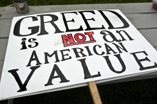 Chris Detrick  |  The Salt Lake Tribune A sign by Occupy SLC participants at Pioneer Park Friday October 7, 2011. The group opposes corporate greed and feels the government is out of touch with the people. They claim to be the 99 percent that has no voice.