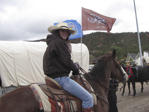 Mark Havnes  |  The Salt Lake Tribune Swasey Boiss, Salem, is taking part in a wagon train trip from Parowan to St. George on her horse, Peek-a-Boo. Bossi and her horse were both born on the same day and will both celebrate their 16th birthday on Monday.