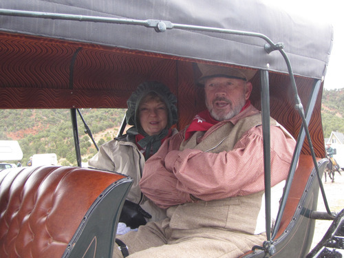 Mark Havnes  |  The Salt Lake Tribune St. George Mayor Dan McArthur and his wife, Bunny, will ride in a buggy from Parowan to St. George in an eight-day trek that started Saturday.