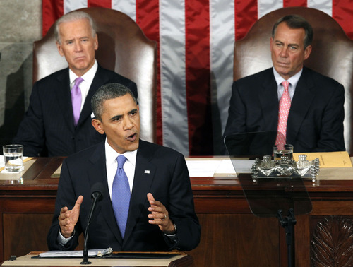 President Barack Obama speaks Sept. 8, 2011, to a joint session of Congress at the Capitol in Washington, as Vice President Joe Biden and House Speaker John Boehner listen. In Obama's sales pitch for his jobs bill, there are two versions of reality: The one in his speeches and the one actually unfolding in Washington. (AP Photo/Charles Dharapak)