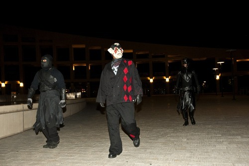 Chris Detrick     The Salt Lake Tribune Members of the Black Monday Society 'Dead Nite,' Wally Gutierrez, 'Fool King,' and Dave Montgomery, 'Nihilist,' walk around during a Doomwatch night patrol in downtown Salt Lake City Sept. 22, 2011.