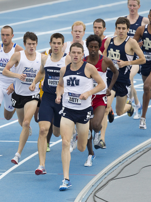 BYU Junior Miles Batty (center) leads the pack during the second heat of the Men's 1500 Meter race at the NCAA Track and Field Championships. Batty advanced to Saturday's final with the second fastest qualifying time of  3:42.84. The meet was held at Drake Stadium in Des Moines, IA. June 9, 2011 Courtesy Jaren Wilkey | BYU Photo