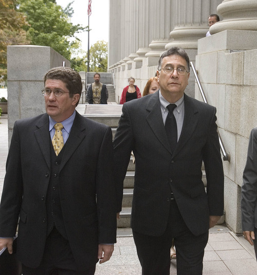 Paul Fraughton | The Salt Lake Tribune  Former Bugman Pest and Lawn employee Cole Nocks, right, pleaded guilty Tuesday to breaking federal pesticide laws in a case tied to the deaths last year of two Layton girls. Here, he leaves the federal courthouse in Salt Lake City with his lawyer, Robert Steele.