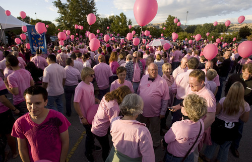 Steve Griffin  |  The Salt Lake Tribune   Hundreds of Utahns gathered at the parking lot north of Spring Miobile Ballpark in Salt Lake City, Utah to form a giant human pink dot in celebration of LGBT community and National Coming Out Day, Oct. 11, 2011.