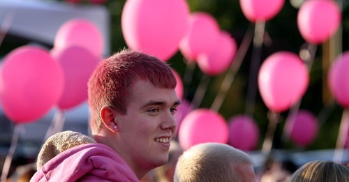 Steve Griffin  |  The Salt Lake Tribune   Eric Fieldsted, of Heber, joined hundreds of Utahns gathered at the parking lot north of Spring Miobile Ballpark in Salt Lake City, Utah to form a giant human pink dot in celebration of LGBT community and National Coming Out Day, Oct. 11, 2011.