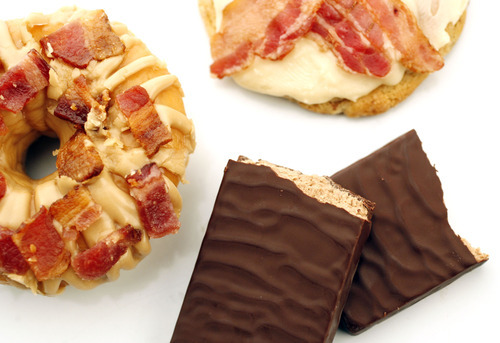 Francisco Kjolseth  |  The Salt Lake Tribune Bacon isn't just for breakfast anymore. Many bakeries are putting this sizzling meat in desserts. Some of these sweet bacon treats include a maple bacon doughnut and maple/milk chocolate cookies both made with bacon. Some chocolate bars are also being infused with bacon for a bittersweet salty taste.