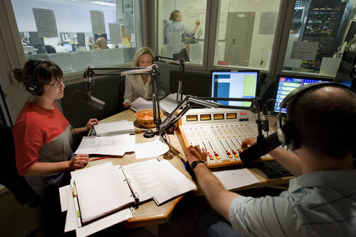 Paul Fraughton  |  The Salt Lake Tribune  Asking listeners for donations to KCPW are Whittney Evans,left, Jessica Dail, and Jeff Robinson, right.   Wednesday, September 28, 2011