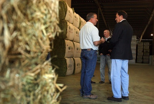 Leah Hogsten | The Salt Lake Tribune  Utah Governor Gary Herbert met with Ephraim business owner Tom Bailey, right, and his son Keith, center, and other county and city leaders to discuss jobs growth in the county on Thursday. Bailey's hay cubing exports 95% of their compressed hay to Asia and the Middle East, taking in some 45,000 tons of hay from 562 farms, averaging $45million in yearly sales.