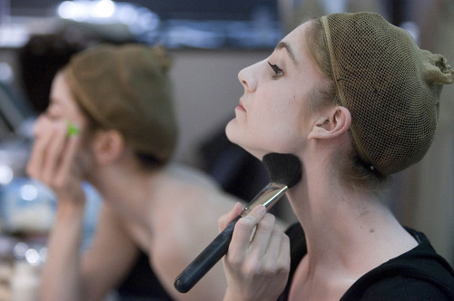 Paul Fraughton | The Salt Lake Tribune Dancer Emily Adams puts on her makeup prior to a recent photo shoot at the KSL studios for a commercial for Ballet West's new production of