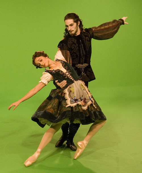 Paul Fraughton | The Salt Lake Tribune Dancers Arolyn Williams and Beau Pearson perform on a green screen at  a photo shoot at the KSL studios, where they were making a commercial recently for Ballet West's new production of