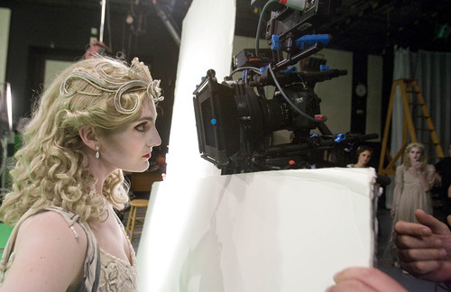 Paul Fraughton | The Salt Lake Tribune Dancer Emily Adams  peers into the camera for a tight close up in the KSL studios were a commercial for Ballet West's new production of