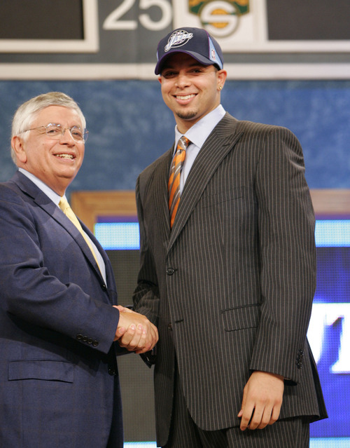 Tribune file photo  Deron Williams, then a guard from Illinois, is congratulated by NBA Commissioner David Stern after he is chosen by the Utah Jazz as the third overall pick of the 2005 NBA Draft Tuesday, June 28, 2005 in New York.