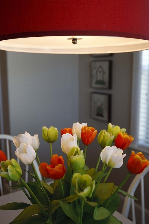 Trent Nelson  |  The Salt Lake Tribune Flowers and a lamp inside the Up house, modeled after the home from the Pixar film