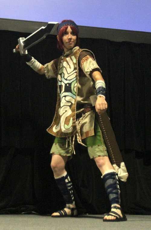 Rick Egan  | The Salt Lake Tribune   Mercedes Merrill performs Wander from the Shadow of the Colossus, in the Cosplay competition, at the Geex convention, at the South Towne Expo Center, Saturday, October 15, 2011. Merrill won the all around first place award in the competition.