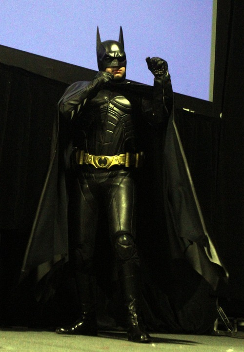 Rick Egan  | The Salt Lake Tribune   James Carlson performs as Batman in the Cosplay competition, at the Geex convention, at the South Towne Expo Center, Saturday, October 15, 2011. The GEEX convention is a two-day convention sponsored by MediaOne that's about video games and geek culture.