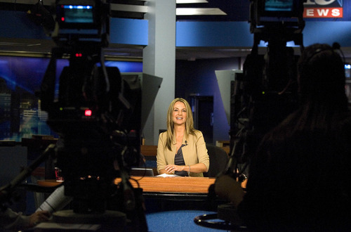 Paul Fraughton | The Salt Lake Tribune Fox 13 anchor Kerri Cronk on the set of