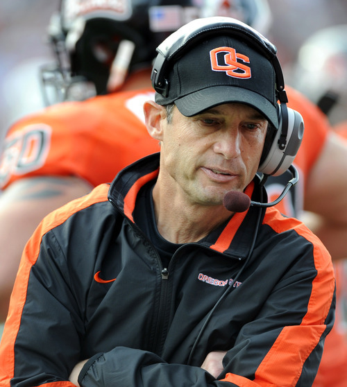 Oregon State head coach Mike Riley looks on during the second half of an NCAA college football game against BYU in Corvallis, Ore., Saturday Oct. 15, 2011. BYU defeated Oregon State 38-28. (AP Photo/Greg Wahl-Stephens)