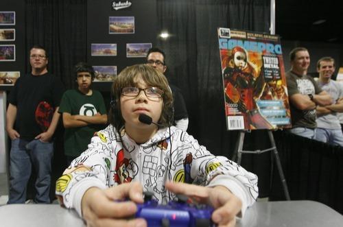 Rick Egan  | The Salt Lake Tribune  Mateo Barazza, 12, plays