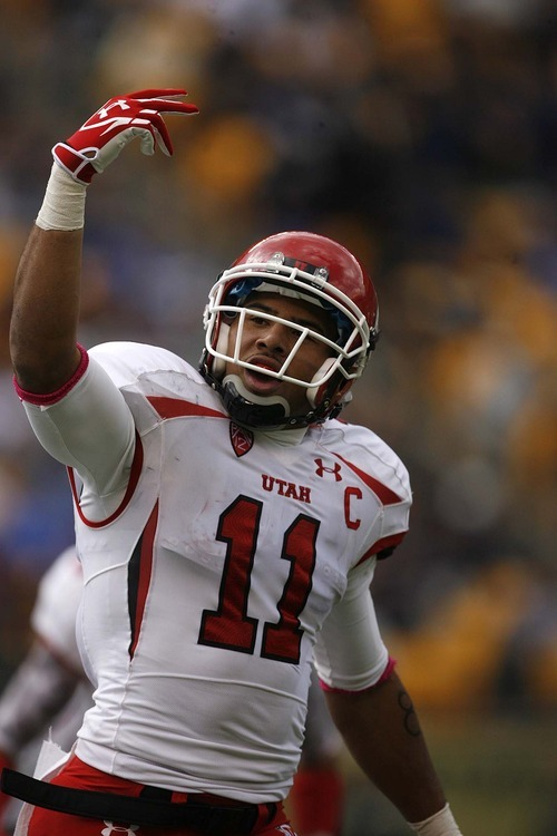 Trent Nelson  |  The Salt Lake Tribune Utah receiver Luke Matthews (11) celebrates his first half touchdown. Utah vs. Pitt, college football at Heinz Field Stadium in Pittsburgh, Pennsylvania, Saturday, October 15, 2011.