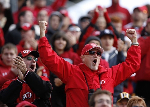 Trent Nelson  |  The Salt Lake Tribune Utah fans cheer during the second half. Utah vs. Pitt, college football at Heinz Field Stadium in Pittsburgh, Pennsylvania, Saturday, October 15, 2011.