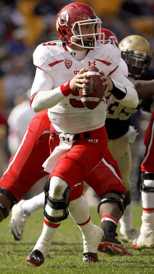 Trent Nelson  |  The Salt Lake Tribune Utah quarterback Jon Hays scrambles in the second half. Utah vs. Pitt, college football at Heinz Field Stadium in Pittsburgh, Pennsylvania, Saturday, October 15, 2011.