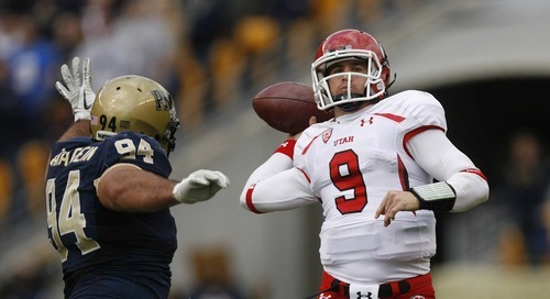 Trent Nelson  |  The Salt Lake Tribune Utah quarterback Jon Hays, right, went 14-for-23 for 127 yards against Pitt on Saturday. Hays also got sacked seven times and said later that the Utes' offense never found its rhythm.