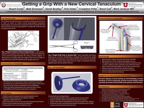 Cervical Tenaculum Promotional piece. Device was designed by Stuart Curtis, Matt Sorenson, Derek Bradley, Erik Ostler, Creighton Petty, Brent Call, and Mark Jackson MD, all of which are affiliated with the University of Utah. Courtesy Image