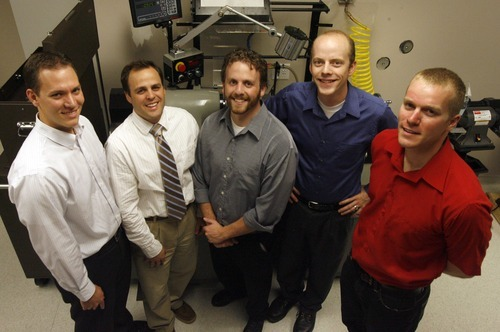 Rick Egan  | The Salt Lake Tribune  Stuart Curtis, Erik Ostler, Derek Bradley, Matt Sorensen and Brent Call in their lab at Research Park Monday. Mike Sorensen is president of the Bench to Bedside Medical Device Competition.