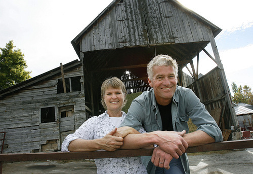 Scott Sommerdorf  |  The Salt Lake Tribune              Jennifer Hines and Pete Schropp, owners of Rockhill Cheese Creamery in Richmond, pose near the hay barn, Thursday, Oct. 13, 2011. The building is one of a handful on the property that Schropp repaired and converted into useable space for making farmstead cheese.