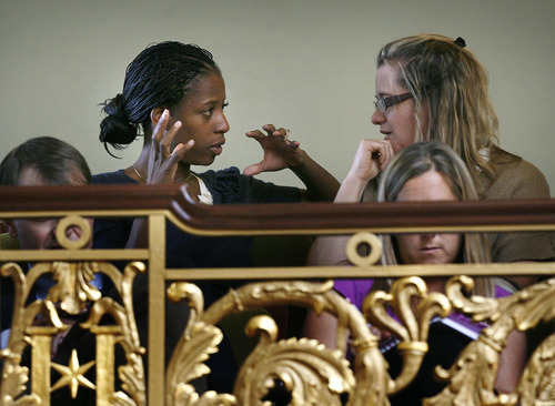 Scott Sommerdorf  |  The Salt Lake Tribune               Saratoga Springs Mayor Mia Love was spotted in the House Gallery on Monday watching the redistricting special session of the Utah Legislature with Jennifer Scott, who runs Jason Chaffetz's Utah office. She is considering a run for the 4th Congressional District.