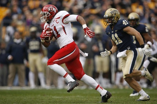 Trent Nelson  |  The Salt Lake Tribune Utah receiver Luke Matthews catches the ball and scores a first half touchdown. Utah vs. Pitt, college football at Heinz Field Stadium in Pittsburgh, Pennsylvania, Saturday, October 15, 2011.