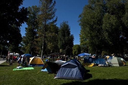 Chris Detrick     The Salt Lake Tribune Tents at the Occupy SLC camp at Pioneer Park Tuesday October 18, 2011.