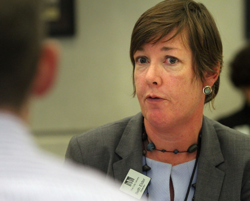 Rick Egan  | The Salt Lake Tribune  Embattled Library Director Beth Elder makes comments during the Salt Lake City Library Board meeting at the Anderson-Foothill Branch Library on Thursday.