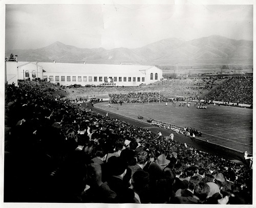 Tribune file photo  Fans watch a football game at the University of Utah in 1942.