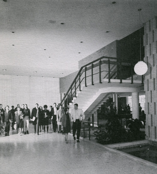 Tribune file photo  Students walk through the new Wilkinson Center in 1965. The Wilkinson Center was dedicated on April 3, 1965.