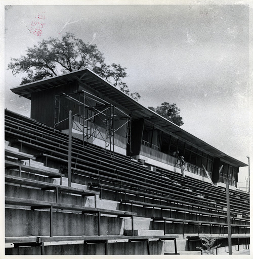 Tribune file photo  Crews work on the press box at BYU's football field in 1957.