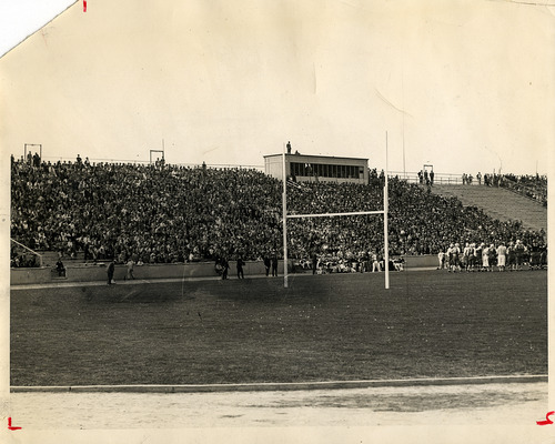 Tribune file photo  Fans watch a football game at the University of Utah in 1938.
