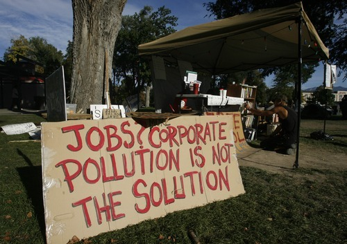 Rick Egan    The Salt Lake Tribune   Occupy Salt Lake, in Pioneer Park, Friday, October 21, 2011.