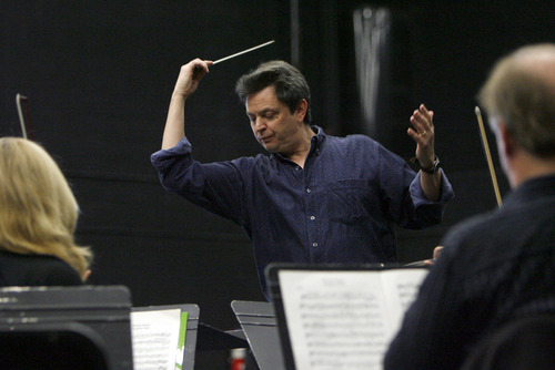 Francisco Kjolseth  |  The Salt Lake Tribune Conductor David Yavornitzky directs Utah musicians as they rehearse for opening concert of the NOVA Chamber Music Series at the Utah Opera Production Studios in Salt Lake at the Black Box. The first concert of the 2011-12 NOVA Series included a performance of Wagner's