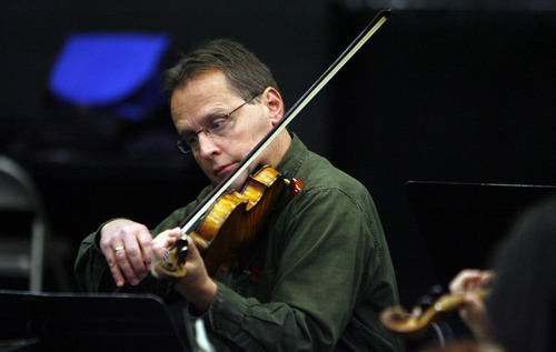 Francisco Kjolseth  |  The Salt Lake Tribune Utah Symphony violinist David Langr rehearses for the opening concert of the NOVA Chamber Music Series. The first concert of the 2011-12 NOVA Series included Brahms' Violin Sonata No. 3, Wagner's