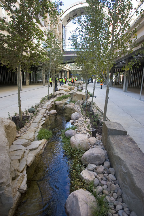 Al Hartmann   |  The Salt Lake Tribune  A re-creation of City Creek runs through the new City Creek Center. The new shopping and dining destination will transform downtown Salt Lake City with its mix of modern architecture, historic restoration and restored creek. It is opening March 22.
