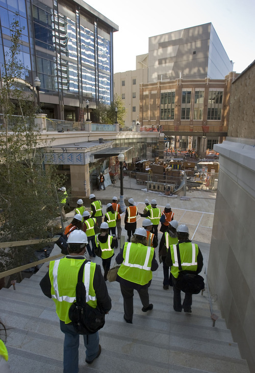 Al Hartmann   |  The Salt Lake Tribune  Members of the media tour the City Creek Center on Wednesday, Oct. 26. The new shopping and dining destination will transform downtown Salt Lake City with its mix of modern architecture, historic restoration and restored creek. It is opening March 22.