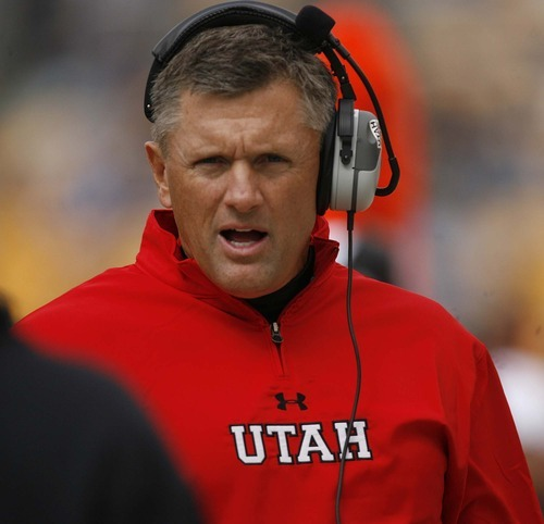 Trent Nelson  |  The Salt Lake Tribune Utah coach Kyle Whittinghame during the first half. Utah vs. Pitt, college football at Heinz Field Stadium in Pittsburgh, Pennsylvania, Saturday, October 15, 2011.