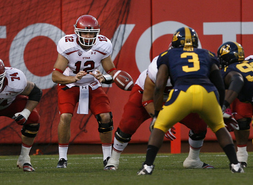 Scott Sommerdorf  |  The Salt Lake Tribune              Utah QB Griff Robles (12), takes his first snap as Utah QB i the second half. Jon Hayes later returned to the lineup, and finished the game at QB. The Cal Bears beat Utah 34-10 at AT&T Park in San Francisco, Saturday, October 22, 2011.