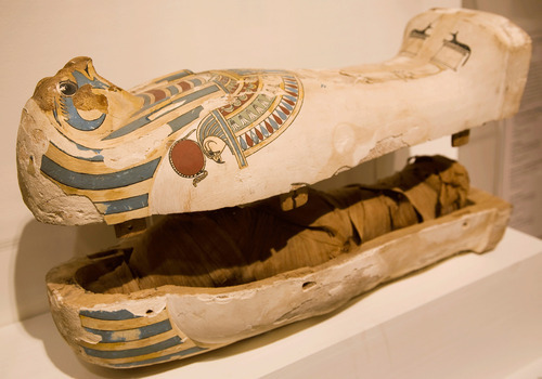 The UMFA has reinstalled its ancient Egyptian, Greek, and Roman collection in two new galleries, included is the 26th dynasty coffin of Padiusir. Courtesy Utah Museum of Fine Arts