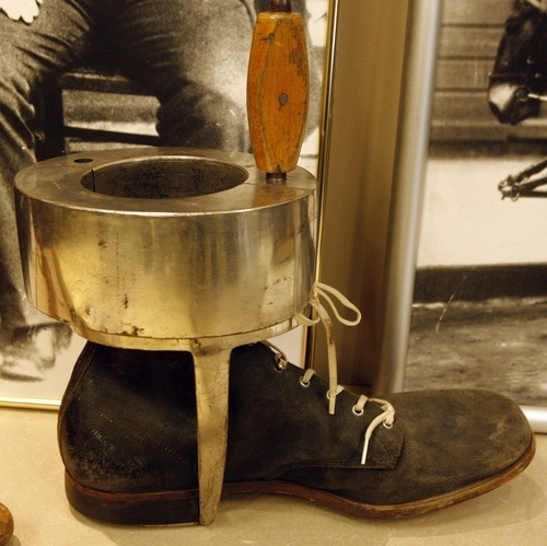 Rick Egan  | The Salt Lake Tribune  An ankle weight used in the old days is on display at the Utah State Archives building Friday. The Law Enforcement Historical Collection contains other interesting items and photographs from the state's law enforcement past, including old firearms, photographs, badges, equipment and mugshot books.