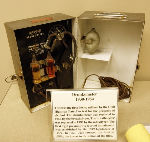 Rick Egan  | The Salt Lake Tribune  A drunkometer is on display at the Law Enforcement Historical Collection at the Utah State Archives building. Other interesting items and photographs from the state's law enforcement past, including old firearms, photographs, badges, equipment and mugshot books, are also on display.