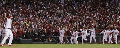 St. Louis Cardinals relief pitcher Jason Motte reacts after Texas Rangers' David Murphy flies out to end Game 7 of baseball's World Series Friday, Oct. 28, 2011, in St. Louis. The Cardinals won 6-2 to win the series. (AP Photo/Matt Slocum)